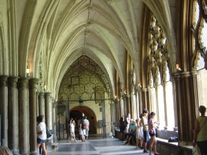 Of COURSE we can't take pictures in the Cathedral itself, but the cloisters are fair game.  Home to such interesting sights as funeral effigies of some long dead monarchs and Britain's oldest door.  Thing's over a thousand years and still kickin!