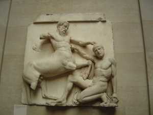 From the frieze of the Parthenon!  There is a whole gallery devoted to this world wonder and the frieze stretches all along it.  I never get over how stunning the sculpture is