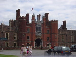 Hampton Court.  Cardinal Thomas Wolsey built it and gave it as a present to Henry VIII, who reacted in his typical manner of stripping the cardinal of power a few years later and condemning him to death.