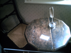 """The writing table she wrote her stories on.  When we were looking at it, Amy just said in a voice that had us all laughing, """"This is where it happened..."""""""