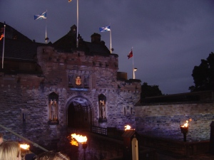 Edinburgh Castle lit up for the Tatoo