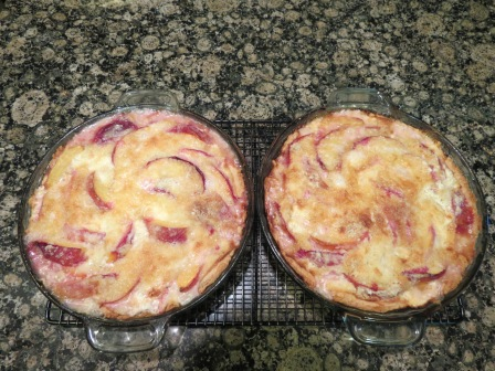 Peaches and cream pies ready to go.