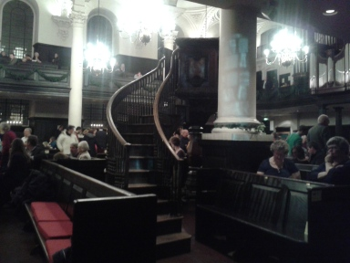 We had a beautiful view of the organ, lectern, and even the conductor and soloists from a side box pew.