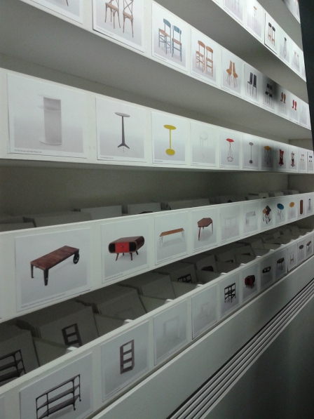 The best design in the design showroom? Shelves and shelves containing individual description cards for each of the items sold.